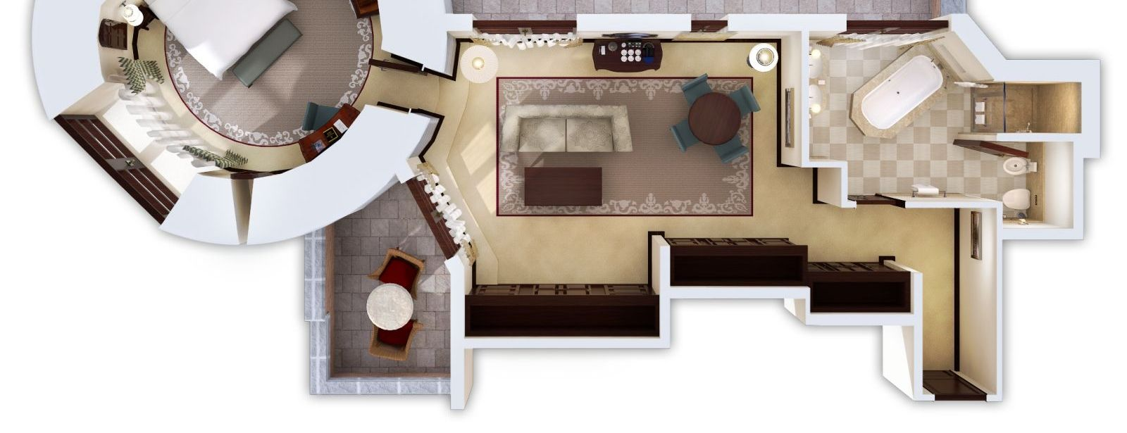 3D Floorplan of the Classic Suite